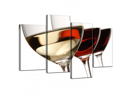 Red White Wine Glasses Kitchen Canvas