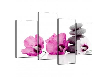 Pink Grey Flower Zen Pebbles Stones Floral Canvas
