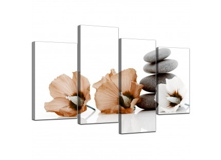Brown White Flowers Zen Pebbles Stones Floral Canvas Prints