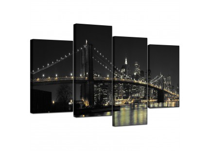 Modern Black White NYC Brooklyn Bridge Cityscape Canvas