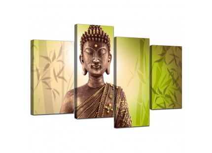 Abstract Buddha Lime Green Bamboo Zen Canvas