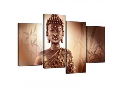 Modern Abstract Buddha Face Brown Zen Canvas