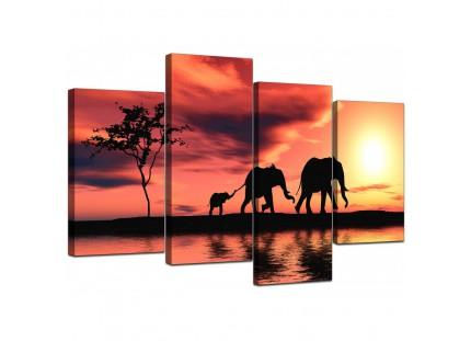African Sunset Elephants Landscape Canvas