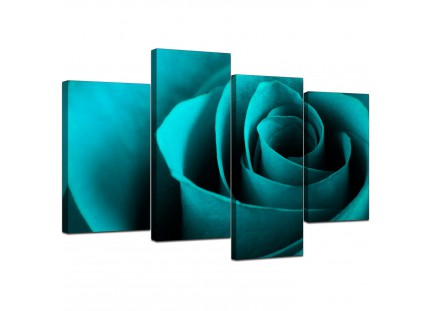 Turquoise Blue Rose Petal Flower Floral Canvas