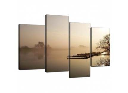 Sepia Brown Sunset Jetty Sunset View Landscape Canvas Art