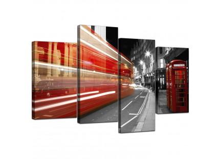 Black White Red London Bus Street Scene Cityscape Canvas
