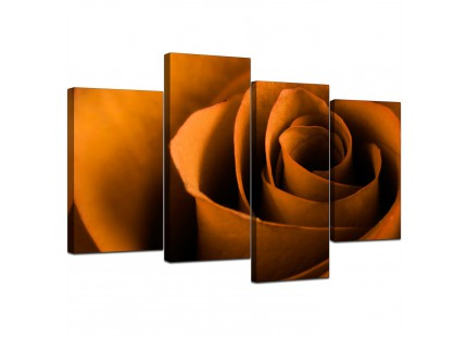 Orange Black Rose Petal Flower Floral Canvas