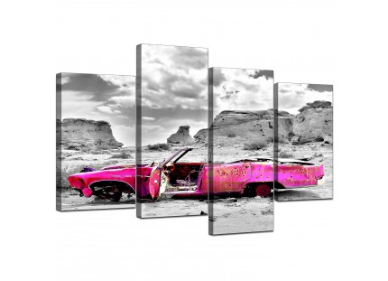 Pink Grey Black Abstract Desert Car Landscape Canvas