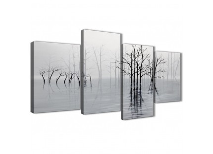 Black White Grey Tree Landscape Canvas Wall
