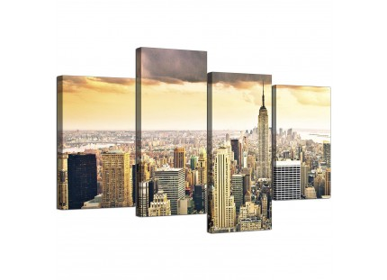 New York Manhattan Skyline Yellow Grey City Canvas