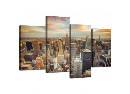 New York Skyline Sunset Manhattan Cityscape Canvas