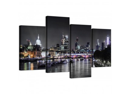 London Skyline at Night Cityscape Canvas