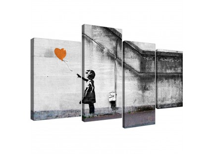 Banksy Balloon Girl Orange Heart Hope Canvas