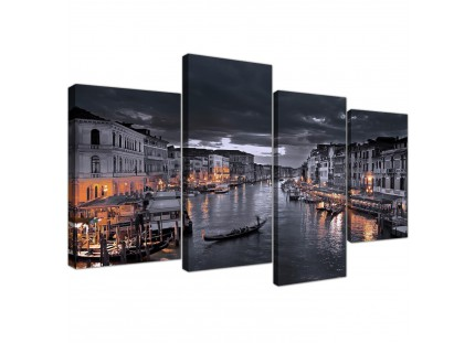 Venice Italy Gondola Black White City Canvas