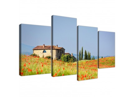 Green and Blue Tuscan Meadow with Red Poppies Floral Canvas Print
