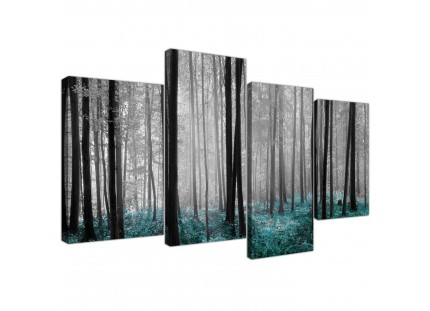Teal Grey White Forest Woodland Trees Landscape Canvas