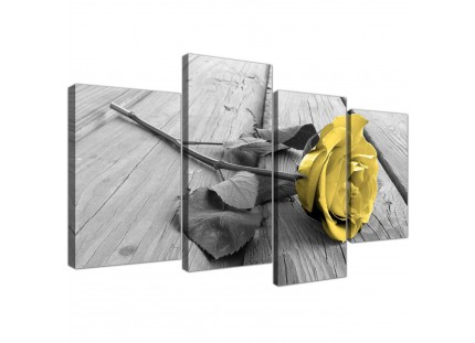 Yellow Grey Rose Flower Black White Floral Canvas Art