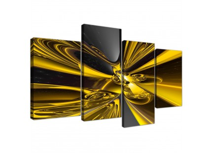 Yellow Black Modern Contemporary Abstract Canvas Art
