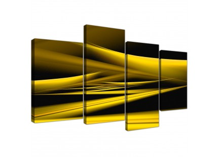 Yellow Abstract Black Modern Contemporary Waves Canvas