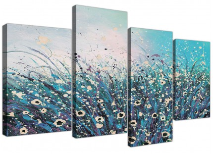 Teal Coloured Flowers Abstract Modern Floral Canvas - 4 Part Set - 130cm - 4260