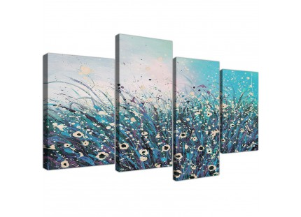 Teal Coloured Flowers Abstract Modern Floral Canvas