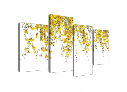 Modern Yellow White Orchids Flowers Floral Canvas