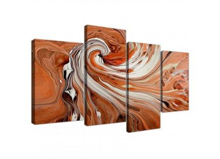 Modern Orange White Swirls Contemporary Abstract Canvas Art