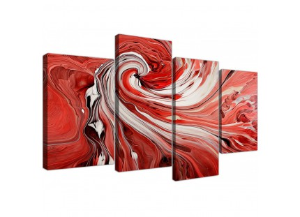 Red and White Spiral Swirl - Abstract Canvas Modern