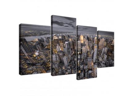 Black White Yellow New York Skyline Cityscape Canvas