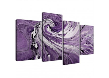 Purple and White Spiral Swirl Modern Abstract Canvas