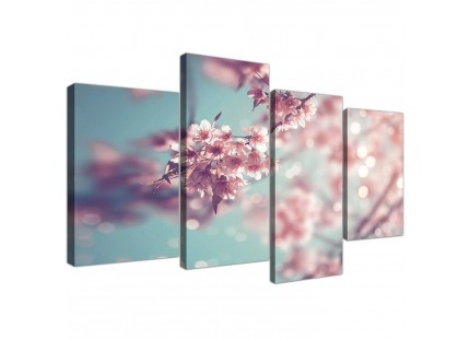 Duck Egg Blue Pink Shabby Chic Blossom Floral Canvas