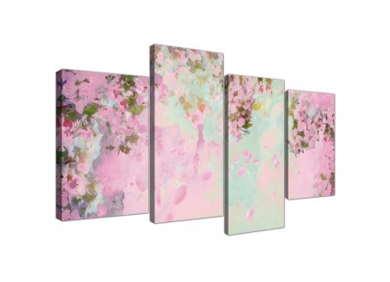 Shabby Chic Pale Dusky Pink Floral Canvas