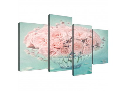 Duck Egg Blue and Pink Roses Flower Floral Shabby Chic Canvas