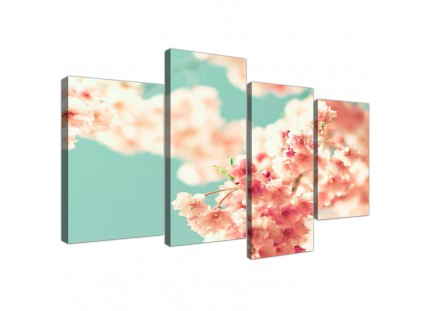 Japanese Cherry Blossom Shabby Chic Pink Blue Floral Canvas