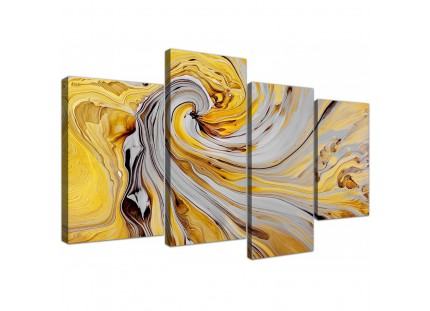 Mustard Yellow and Grey Spiral Swirl - Abstract Canvas Modern