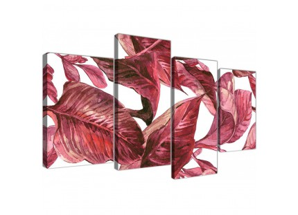 Dark Burgundy Red White Tropical Leaves Canvas Wall Art