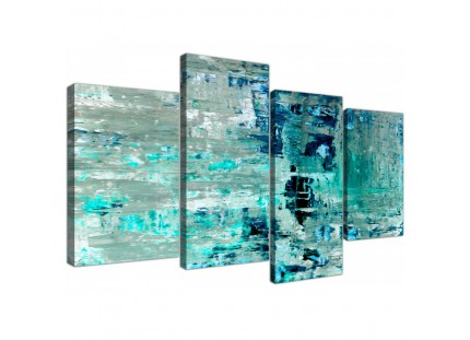 Turquoise Teal Abstract Painting Wall Art Print Canvas - Modern