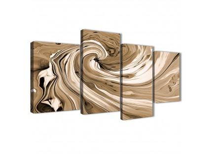 Brown Cream Swirls Modern Abstract Canvas Wall Art