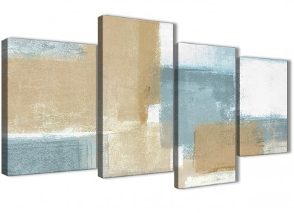 Large Blue Beige Brown Abstract Painting Canvas Wall Art Print - Multi 4 Piece - 130cm Wide - 4350