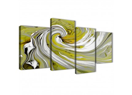 Modern Lime Green Swirls Abstract Canvas Wall Art