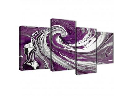 Purple White Swirls Modern Abstract Canvas Wall Art