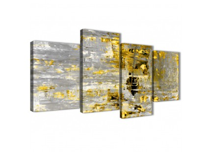 Yellow Abstract Painting Wall Art Print Canvas - Modern