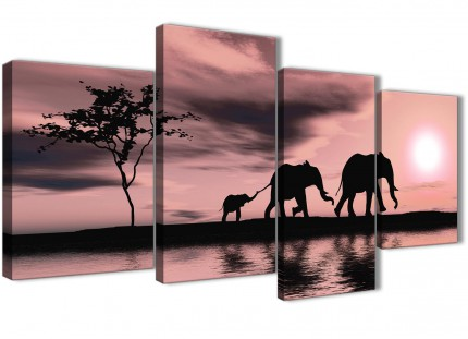 Large Blush Pink African Sunset Elephants Canvas Wall Art Print - Multi 4 Panel - 130cm Wide - 4361