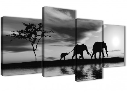 Large Black White African Sunset Elephants Canvas Wall Art Print - Split 4 Panel - 130cm Wide - 4363