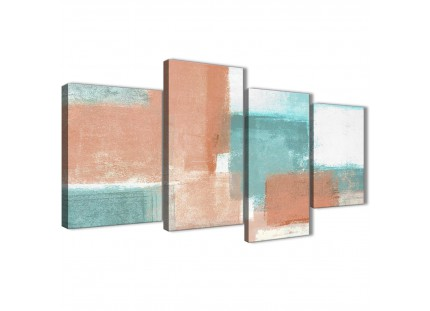 Coral Turquoise Abstract Canvas Wall Art Pictures
