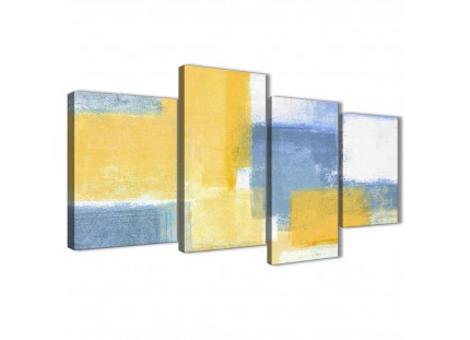 Mustard Yellow Blue Abstract Canvas Pictures
