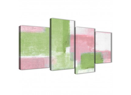 Pink Lime Green Abstract Canvas Pictures