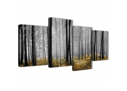 Yellow and Grey Forest Woodland Trees Canvas Wall Art