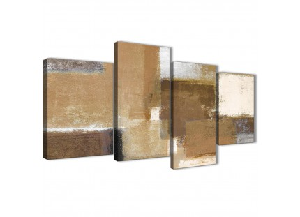 Brown Cream Beige Abstract Painting Canvas Wall Art