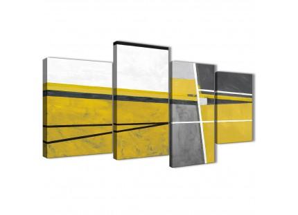 Mustard Yellow Grey Painting Abstract Canvas Wall Art